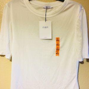 ZARA Size Large Basic Half Sleeve White Top